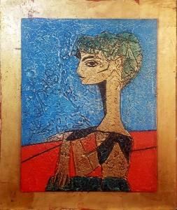 10.Picasso - Jacqueline avec des fleurs - 64 x 52cm Tehnics -gold plate, oil on masonite