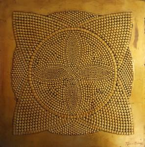 9.Proximity _ Closeness (Blizina_ Bliskost) - 101 x 101 cm Tehnics - metal, rivets, gold plate, oil on masonite